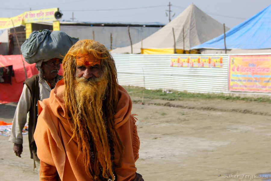 Sadhu in India orange robes