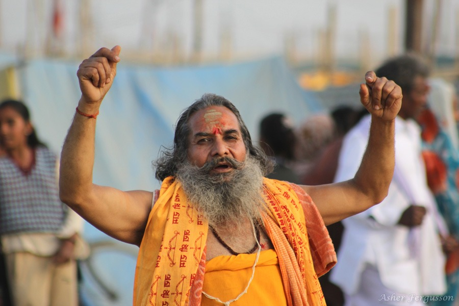 singing songs at kumbha mela saint