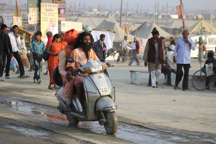 sadhu on moped