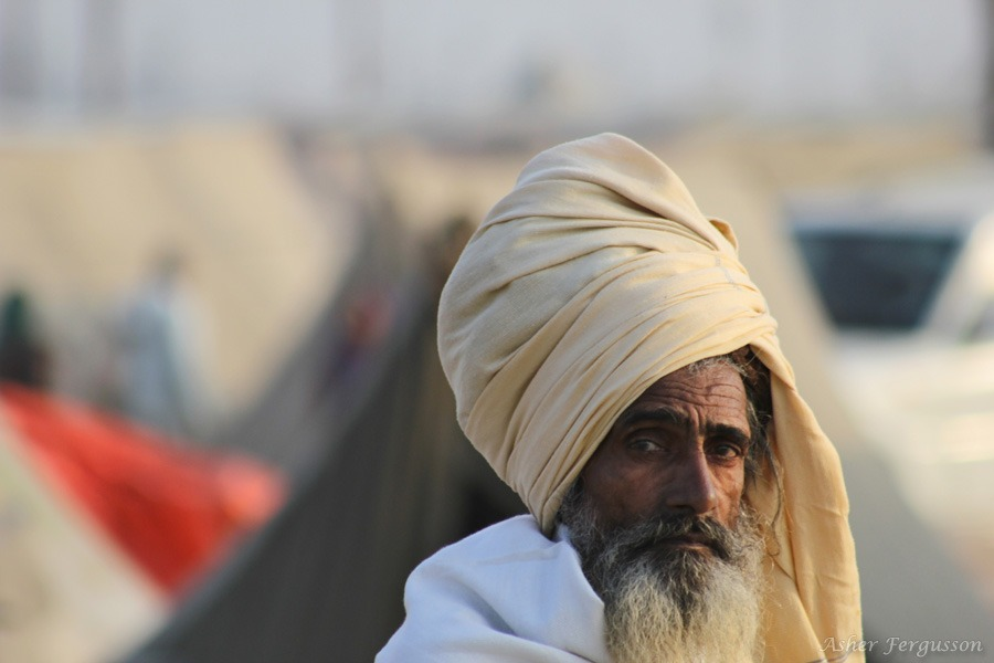 face of sadhu in india